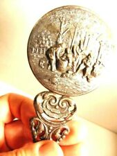 "decorative silver plated hand mirror marked ""Denmark"""