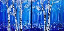 Blue Wall Art, BOSCO dipinto, pittura moderna invernale, betulla 2 pannelli ART