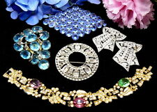 ART DECO RHINESTONE AS IS  COSTUME JEWELRY LOT FRUIT SALAD BRACELET CLIPS PINS+!