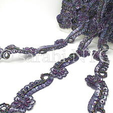 Purple Floral Sequin Beaded Fabric Trim trimming,Embellishment,co stume,pageant