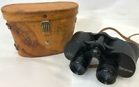 Vintage Traid Sportview Black Wide Field 10 Degree Binoculars w/ Leather Case