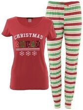 Not A Morning Person Juniors Christmas Squad Red Striped Jogger Pajamas
