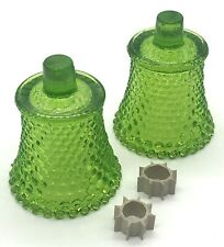 2 HOMCO Green Hobnail Pegged Votive Sconce Cups with Rubber Grommets 3.75""