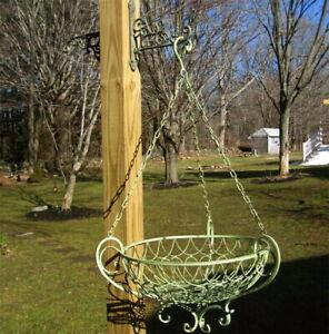 Victorian 17 1/2 Diameter Hanging Basket Iron Antique Green Finish
