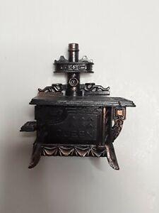 Vintage Copper Colored Metal Miniature Old Time Cook Stove Pencil Sharpener