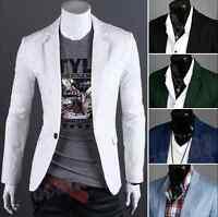 Men's Fashion One Button Slim Fit Casual Business Suit Dress Blazer Coat Jacket