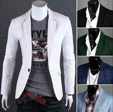 Men's Casual Slim Fit Formal One Button Suit Blazer Coat Business Jacket Tops