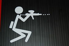 Paintball player stick figure shooting sticker, high quality vinyl, 3.5 inches