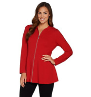 Denim & Co. Active Fit and Flare French Terry Zip Front Jacket - Apple Red - 2X