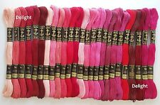 25 Anchor Cross Stitch Embroidery Cotton Thread Floss/ Skein in Red & Pink Color