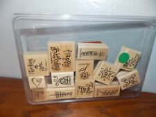 Stampin Up A Greeting for All Thank Holly Tree Bell 13 Wood Mount Stamps L0118