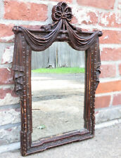 Antique Carved Wood Mirror w/ Drape Curtain