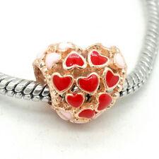 1pcs rose gold Color heart European Charm Bead Fit 925 Necklace Bracelet Chain