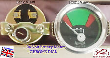 Vintage Geep CAR Tractor Gauge Clock 24V BATTERY VOLTMETER CHROME DIAL-M617B