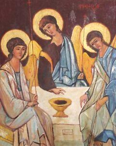 VINTAGE RELIGIUOS HOLY TRINITY OIL PAINTING