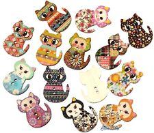 8 boutons chats en bois peint flatback wooden cats buttons 3 cm