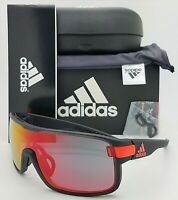NEW ADIDAS Zonyk S Sunglasses AD04/00 6052 00/00 Coal Matte Red Mirror AUTHENTIC