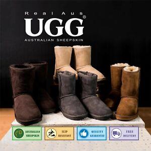 "UGG Real Aus 100% Australian Sheepskin Wool Women 9""Classic Boots Stone/Sand"
