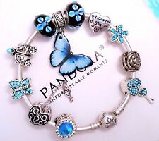 Authentic Pandora Silver Bangle Charm Bracelet With Blue Crystal European Charms