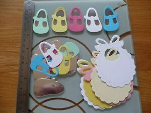 BABY SHOES 5 PAIRS CHILD DIE CUTS EMBOSSED CARD MAKING TOPPERS