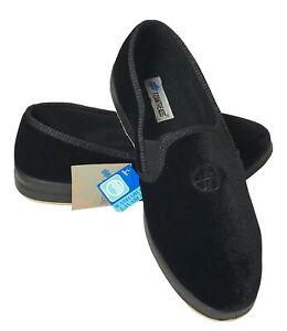Foamtreads Men's Glendale Slipper Faux Velvet Black Washable Size 8.5 Wide