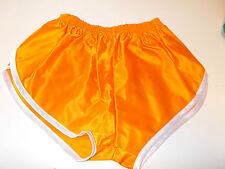 nailon Glanz Satén SPRINTER corto pequeñas a XXL 70s&80s Retro, naranja y blanco