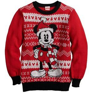 Boys Disney Mickey Mouse Santa Christmas Sweater Light Weight Size L 10 12