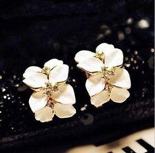 Graceful Gardenia Flower Crystal Ear Studs Rhinestone Ear Hoop Buckle Earrings
