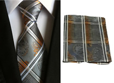 Men's Orange Black Paisley Floral Tie & Hanky Handkerchief Pocket Square Set