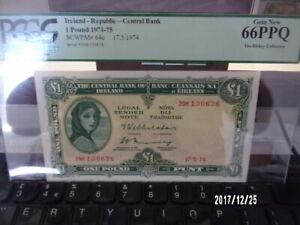 IRELAND Lady Lavery -  £1 Banknote (1974) PCGS 66 PPQ Gem New