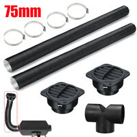 75mm Diesel Heater Duct Hose Pipe & T Piece Warm Air Outlet & Clip For Webasto