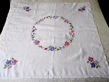 "VINTAGE LINEN TABLE CLOTH HAND EMBROIDERED 40"" by 40""  - WHITE"