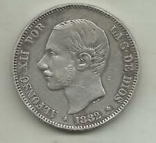 SPAIN 2 PESETAS ALFONSO XII 1882. SILVER COIN. XF CONDITION. 3RW 29DES