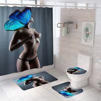 Bathroom Rug Set Shower Curtain Bath Mat Non-Slip Toilet Lid Cover Pedestal Mat