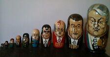 Russian Nesting Dolls 10 Matryoshka Soviet Leaders, signed vintage