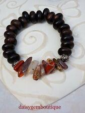 Fancy Jasper and Tiger Ebony wood stretchy bracelet, Natural jasper, Genuine gem
