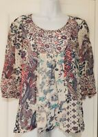 Womens Monsoon Multicoloured Paisley Bird Floral Print Folk Boho Smock Blouse 8.