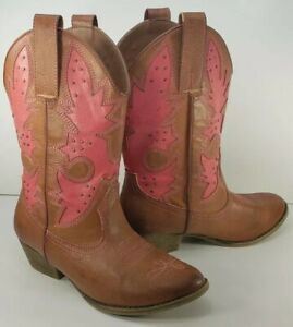 Cherokee Girls Cowboy Boots Size 3 Brown & Pink Faux Leather Synthetic Lining