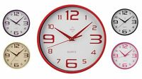 Round Plastic Wall Clock Home Office Hanging Clock In Different Colours NEW