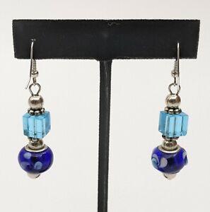 Blue Glass Bead 1.75 in. Drop Dangle Fashion Pierced Earrings
