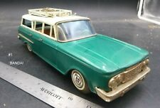 #1 BANDAI 1959? RAMBLER STATION WAGON TIN JAPAN FRICTION TOY CAR 11""