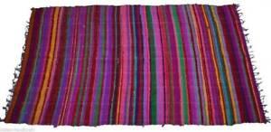 Handmade Indian Chindi Rag Rug 100% Recycled Cotton Woven Floor Mat 4x6 Feet