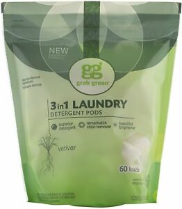 3-in-1 Laundry Detergent by GRAB GREEN, 60 pods 1 pack Vetiver