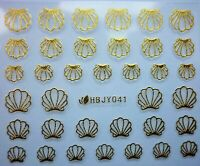 3D Nail Art Lace Stickers Decals Transfers Metallic GOLD Shells Holidays HBJ041G