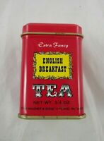 John Wagner Sons Tin Container Red English Breakfast Tea 3/4 oz Empty