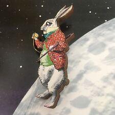White rabbit pin Alice in Wonderland BROOCH Wooden lapel pin Fairytale jewellery