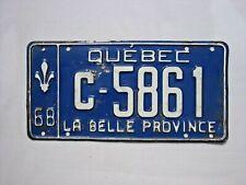 1968 QUEBEC Vintage License Plate TRACTOR # C-5861