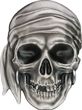 Palau 2017 $5 Pirate Skull 1 oz Antique finish 999 Silver Coin