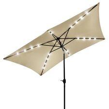 Solar LED Patio Umbrella 2x3m Garden Tilt Outdoor Market Shade Parasol Beige