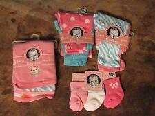 NEW NWT Gerber's Baby Girl's lot 10 Pc Pink pants, socks, burp cloths 0-3 months